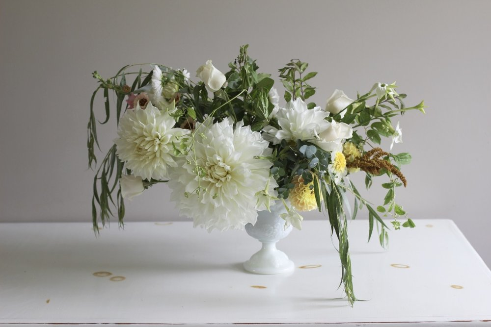 Ivory Blossom | Loveshyla.com | Farmer/ Florist in Bridgeport, WV | Dinnerplate Dahlia, Soft, natural ivory Bouquet