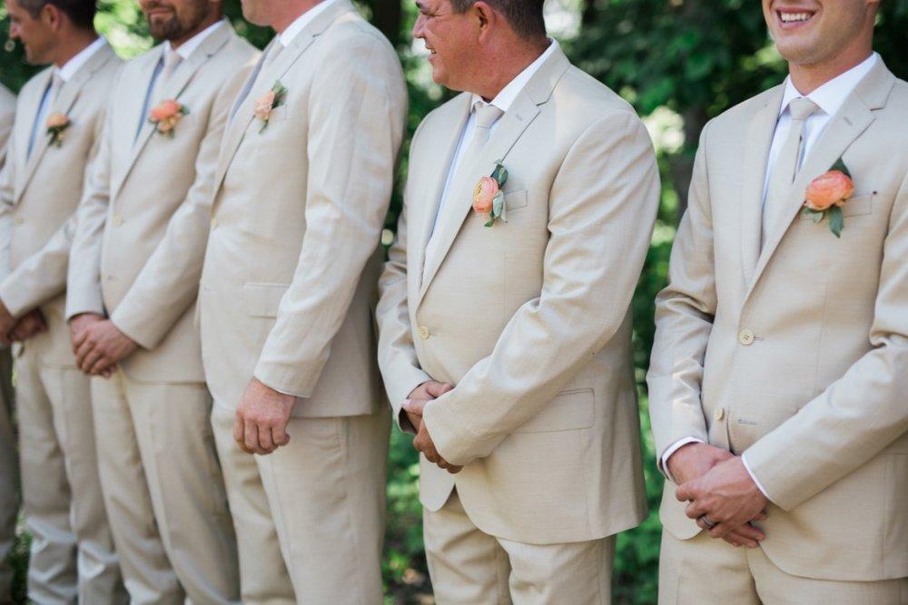 Wedding Flowers | Loveshyla.com | Coral charm peony, garden roses, romantic, blush pink, groomsman, bridesmaids ranunculus