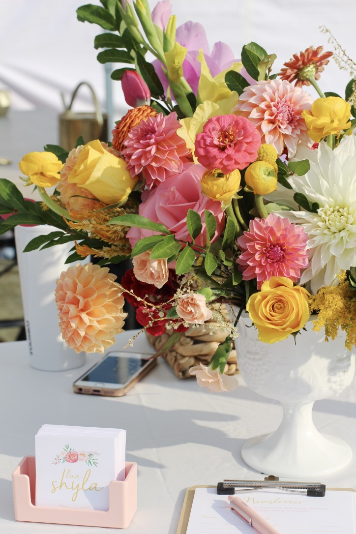 Lemon & Pink Lollipop | Bouquet, Compote arrangement, yellow ranunuculus, dinner plate dahlia white, pink dahlia, cosmos,