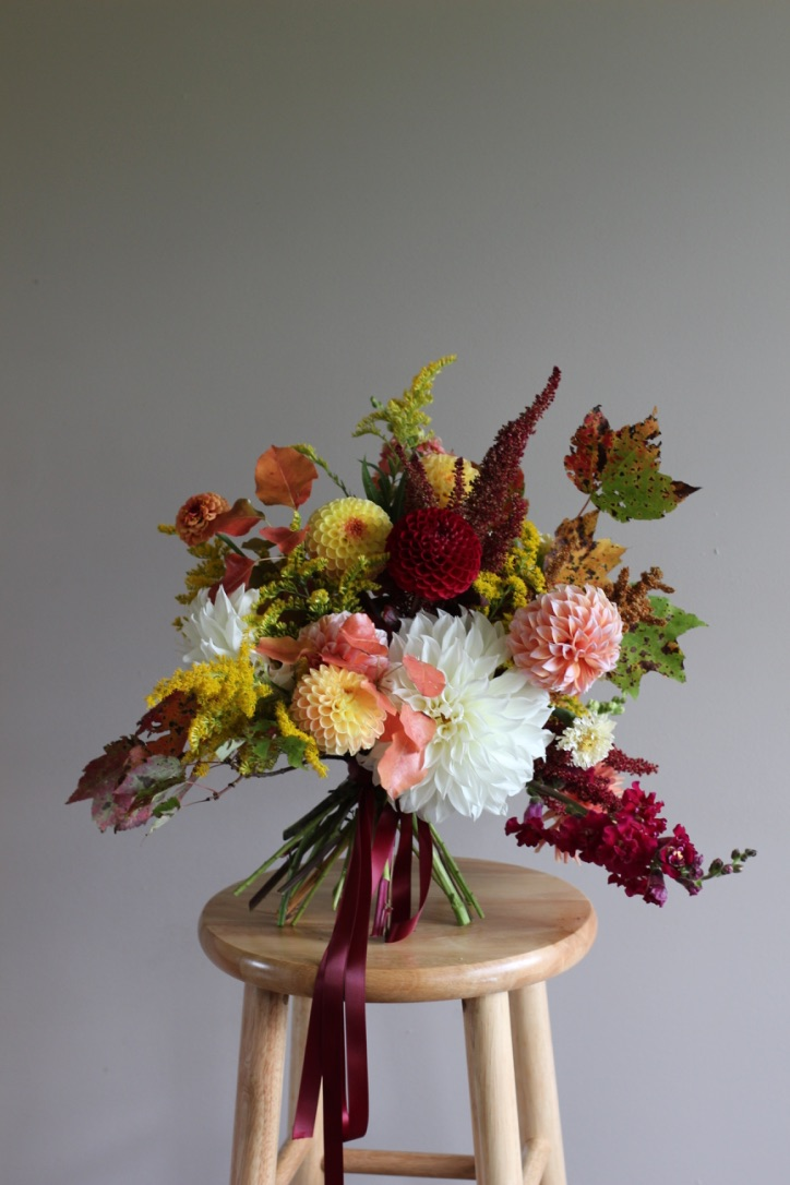 Vibrancy in Autumn | Fall bouquet, cream, white dinner plate dahlia, burgundy, gold, peach | loveshyla.com