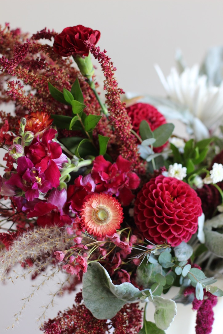 Strawflower & Pom Pom Reds | Compote Flower Arrangement, Fall, Dusty Miller | Loveshyla.com