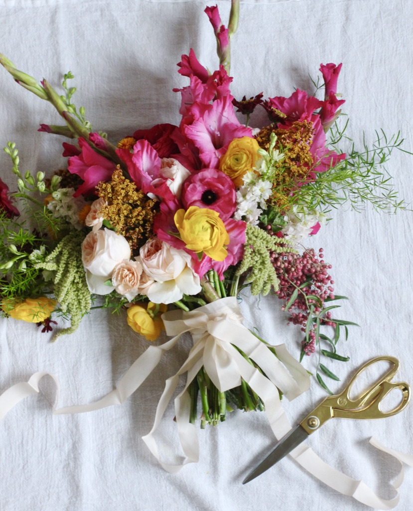 Handful of Posies Bridal Bouquet | Blush, yellow, pink, green | By loveshyla.com