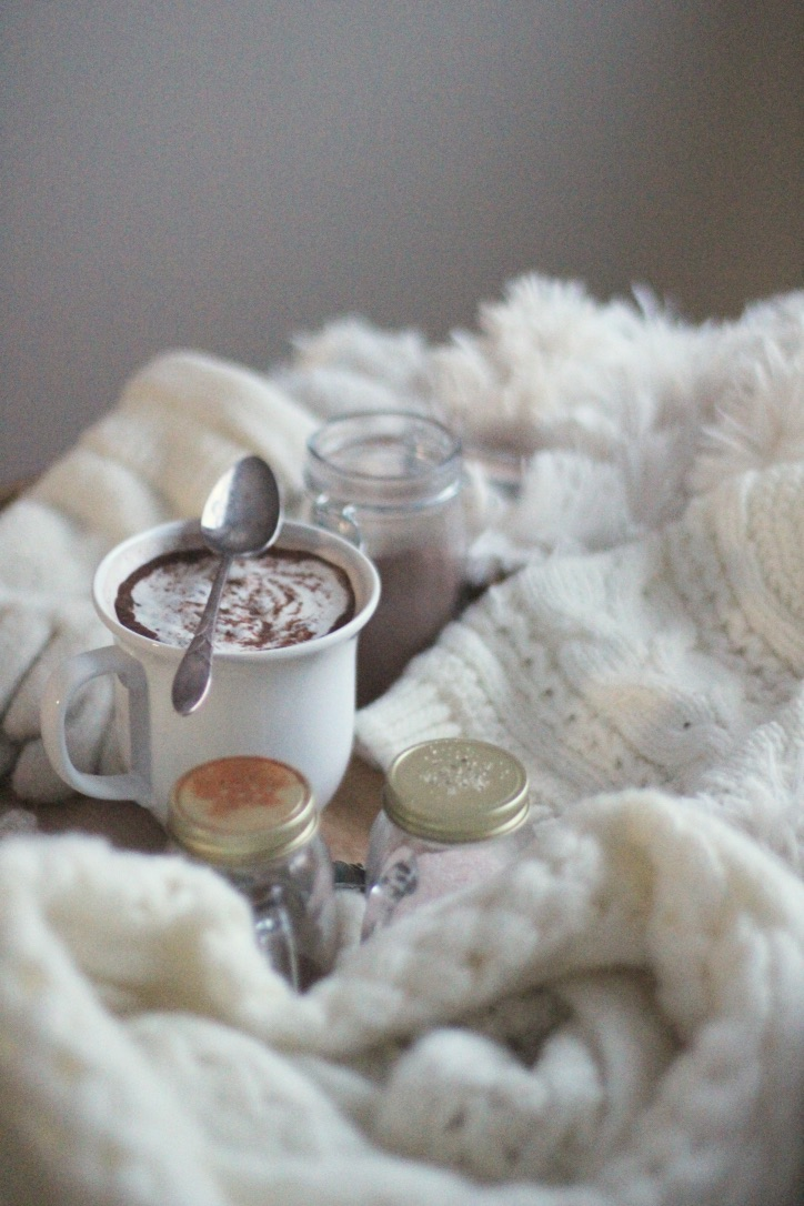Winter's Call To Rest | hot chocolate vignette, white hot chocolate, cozy winter home, white scarf, gloves, hat | loveshyla.com