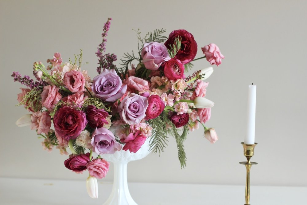 Sweet Romance | Lavender purple and pink bouquet, compote arrangement, feminine, pretty, lush, fine art, wedding, floral design | Florist: Loveshyla.com