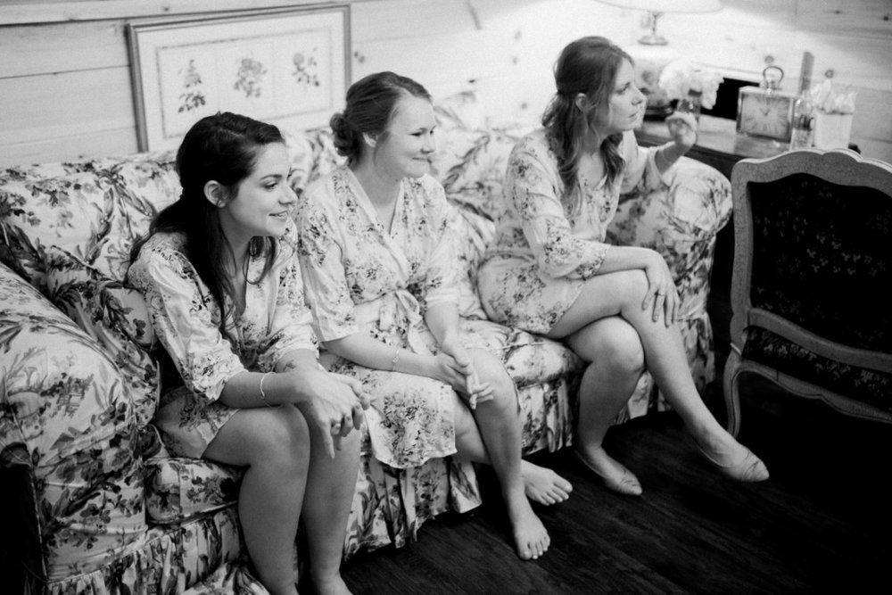 Our Wedding Part II | Getting Ready, Details, invitation suite, wedding gown, stella york, barn wedding, bride and grooms quarters, bridesmaids floral robes, bridal lace robe, bridal hair and makeup, The Black Tux, suit and tie, cowboy boots, blush and khaki/ light tan spring wedding | Loveshyla.com
