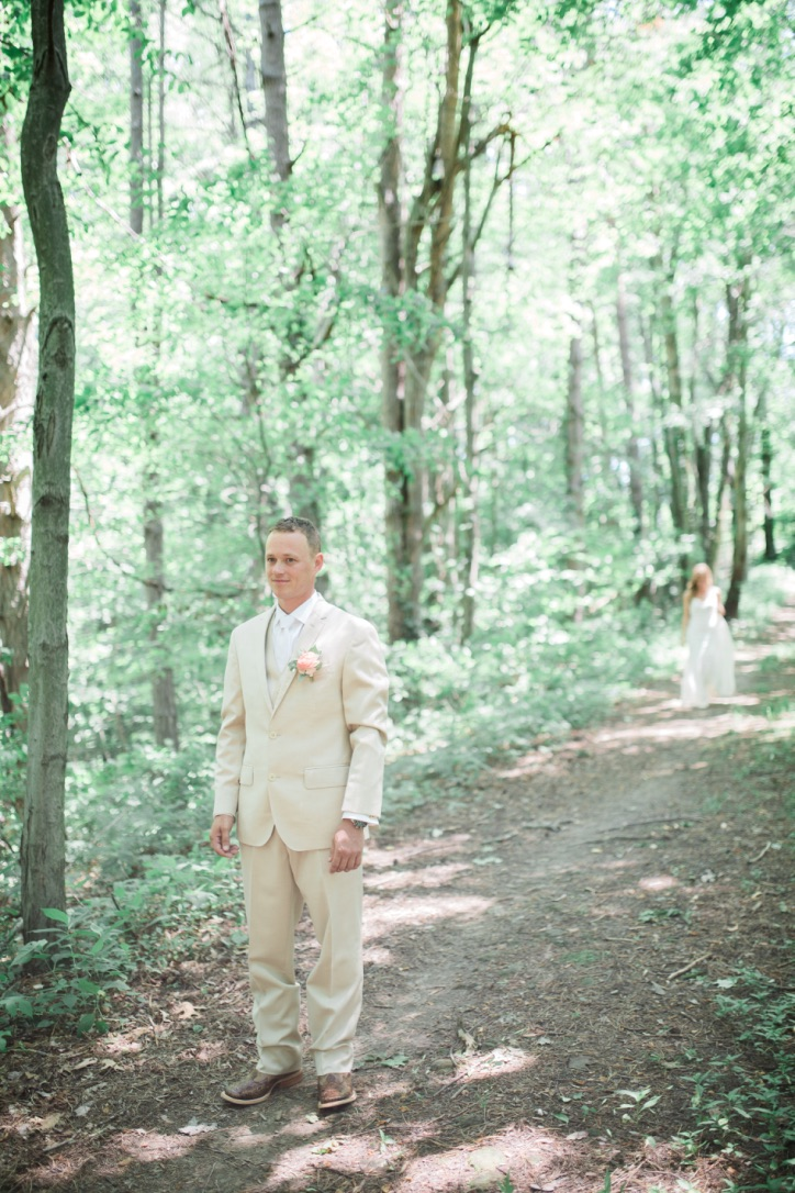 Our Wedding | Part III The First Look & Bridals, bride and groom photos, wedding party, bridesmaids photo ideas, groomsmen, wedding photography inspiration, spring meadow, forest, trees, woods, ivory and blush, tan, ranunculus, coral charm peony | loveshyla.com