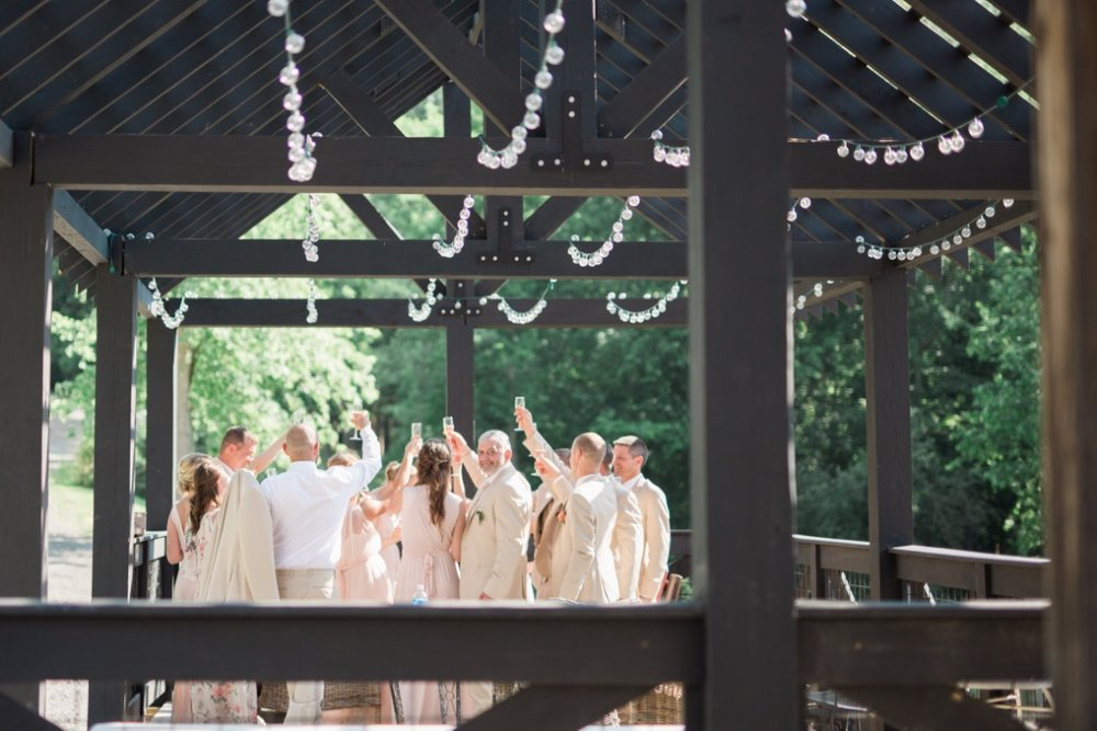 Our Wedding | Part VI The Wedding, ceremony, reception, wedding blog details, spring, June, feminine, happy, whimsical, natural, pretty, blush, coral charm peony, green, ivory, tan, food, meal, head bridal table, settings, tablescape, first dance, farewell, alter garland, arch, arbor, decor, ring bearer, flower girls,  | Loveshyla.com