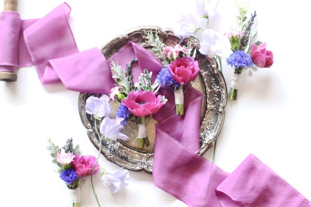 Vibrant Jewel-Toned Wedding | Orchid, Fuchsia, Magenta, Pink, Blue, Yellow, Orange, Anemone, Corsage | Floral Design by Loveshyla.com