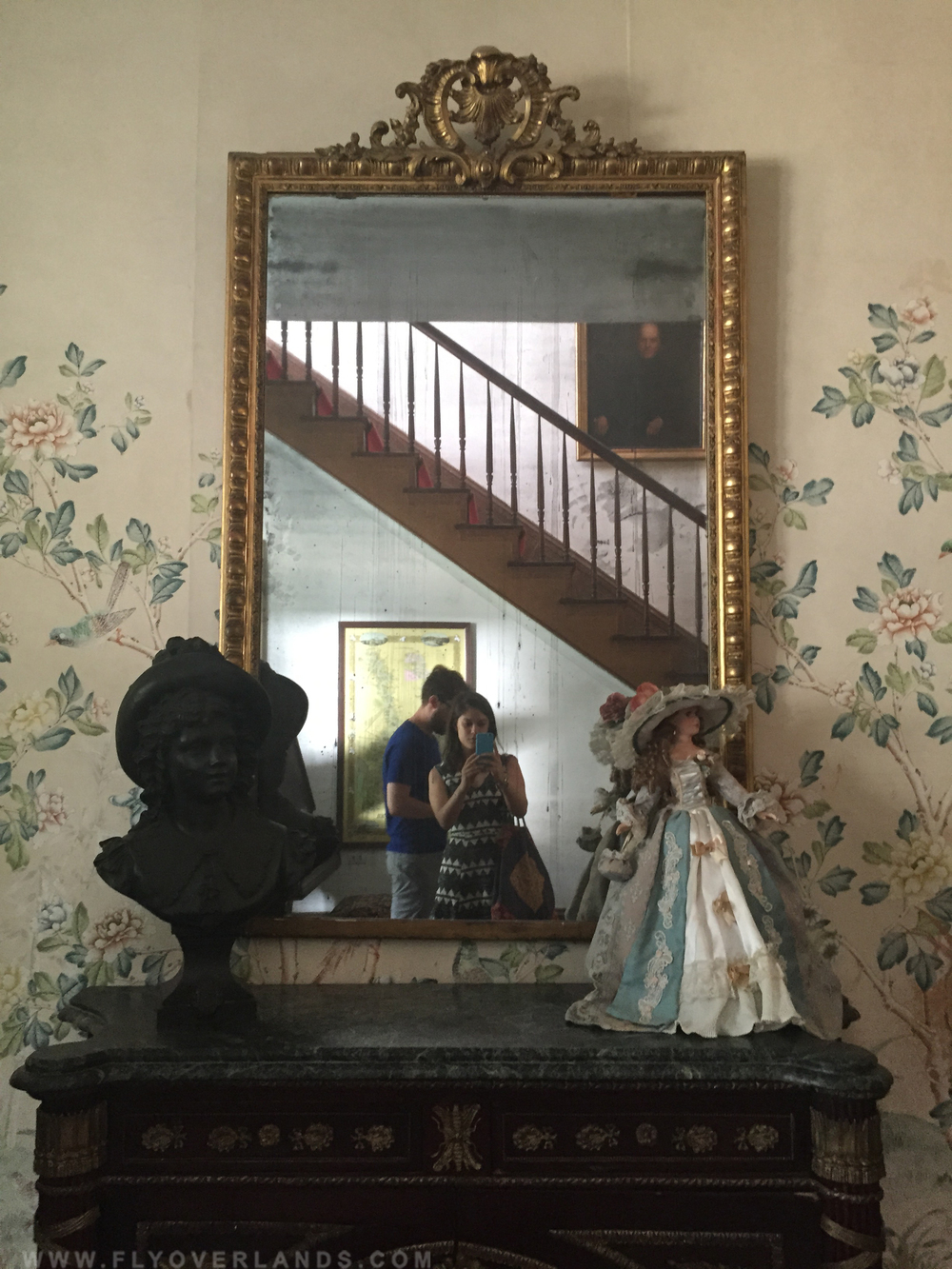 Anyone there? Tour guides suggest taking two photos in this haunted mirror.