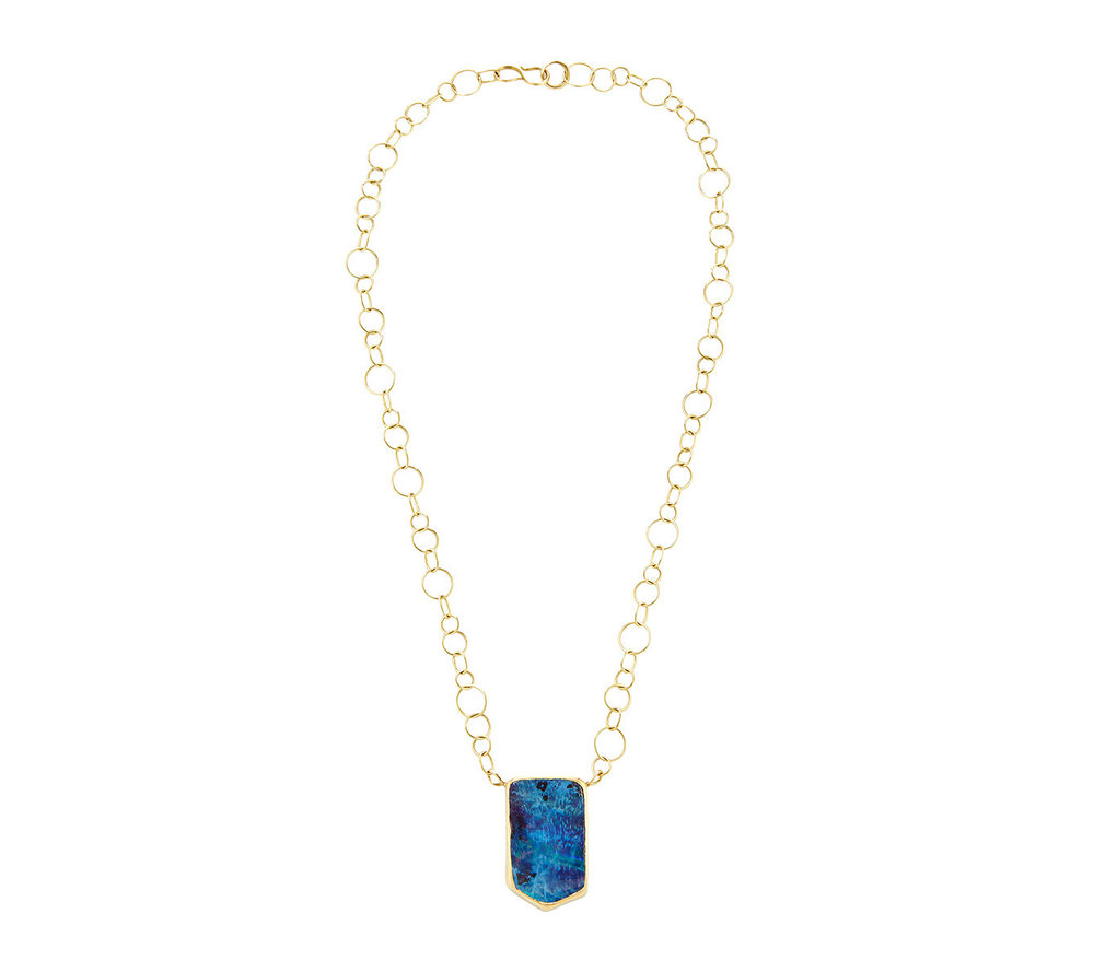 18k yellow gold and Australian boulder opal pendant necklace