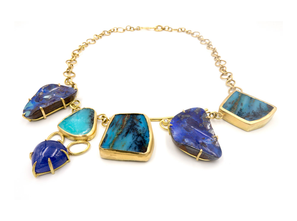 18K yellow gold, opal, and tanzanite necklace