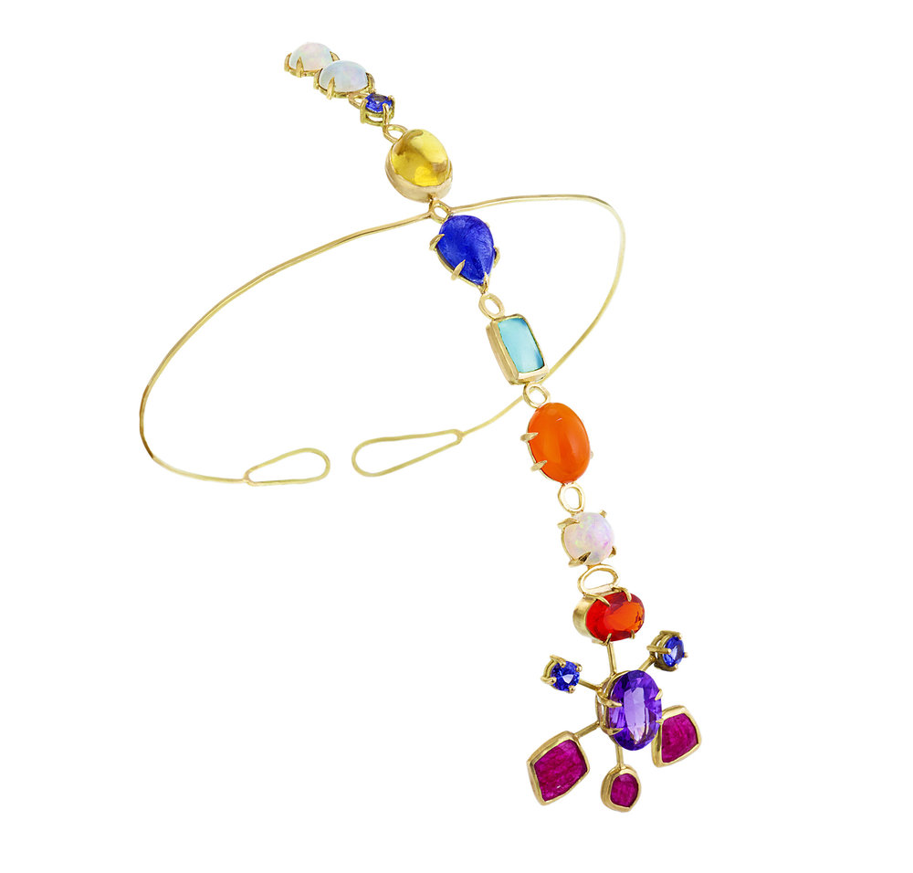18k yellow gold, ruby, tanzanite, amethyst, and opal headpiece