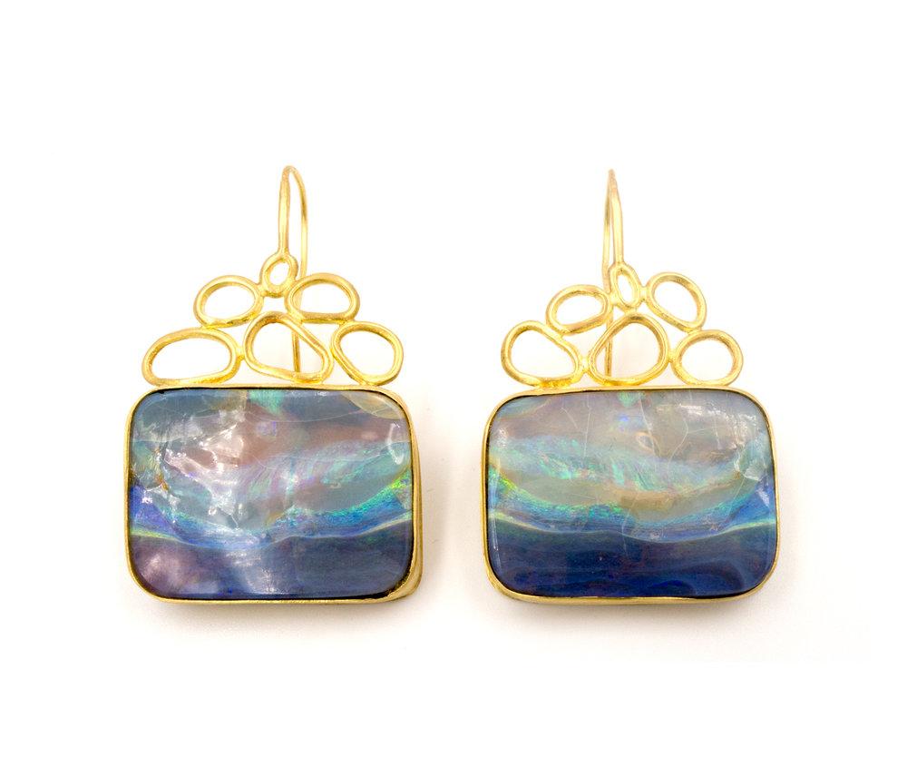 18k yellow gold and split opal earrings