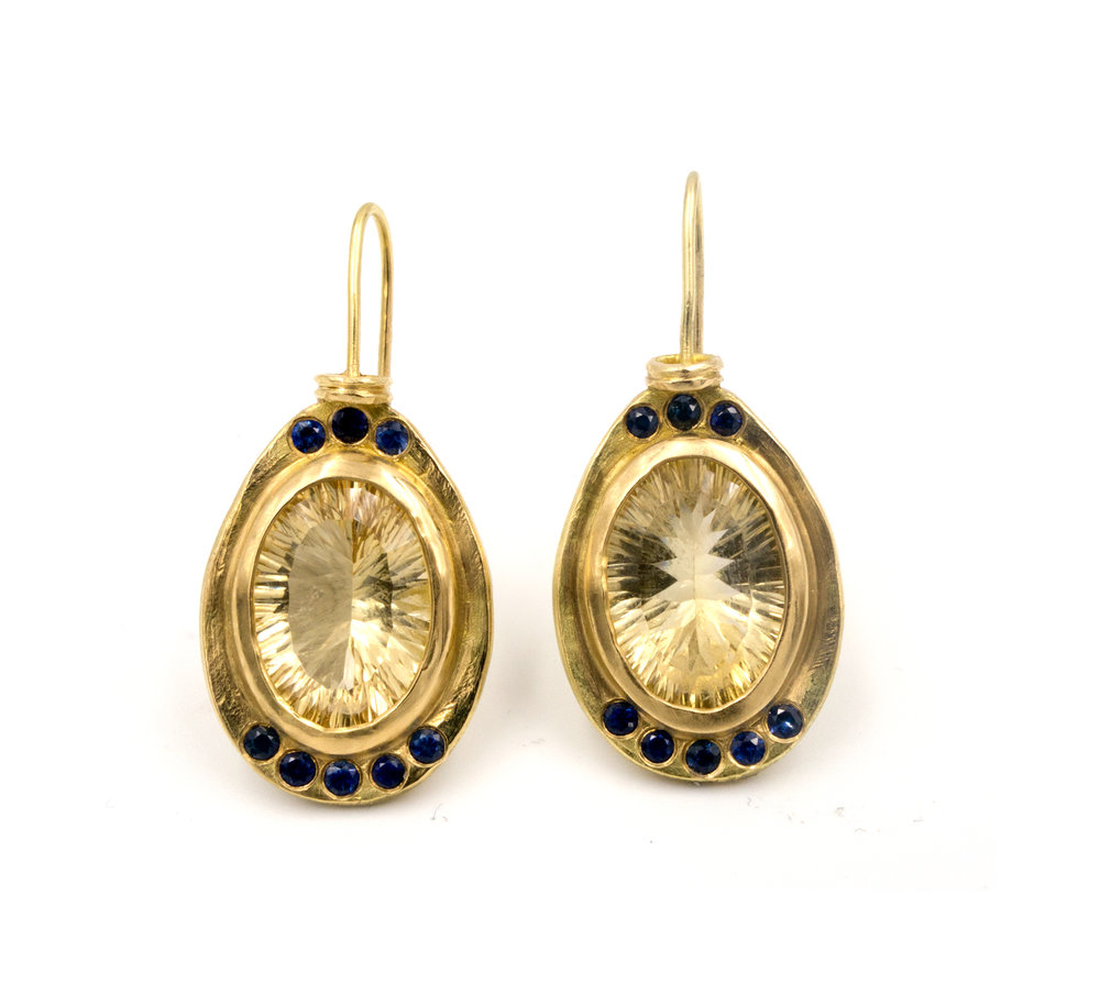 18k yellow gold citrine and blue sapphire earrings
