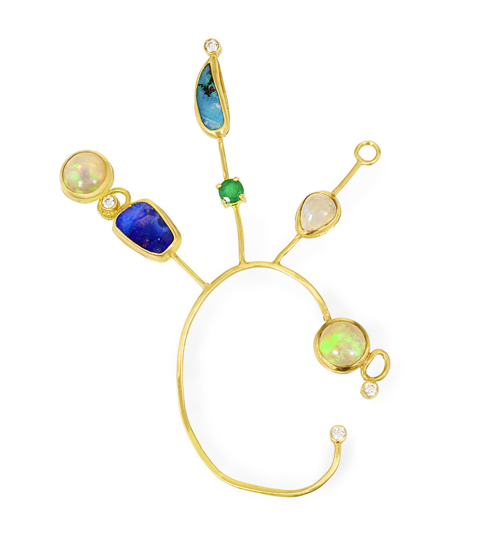 18k yellow gold and opal ear spray