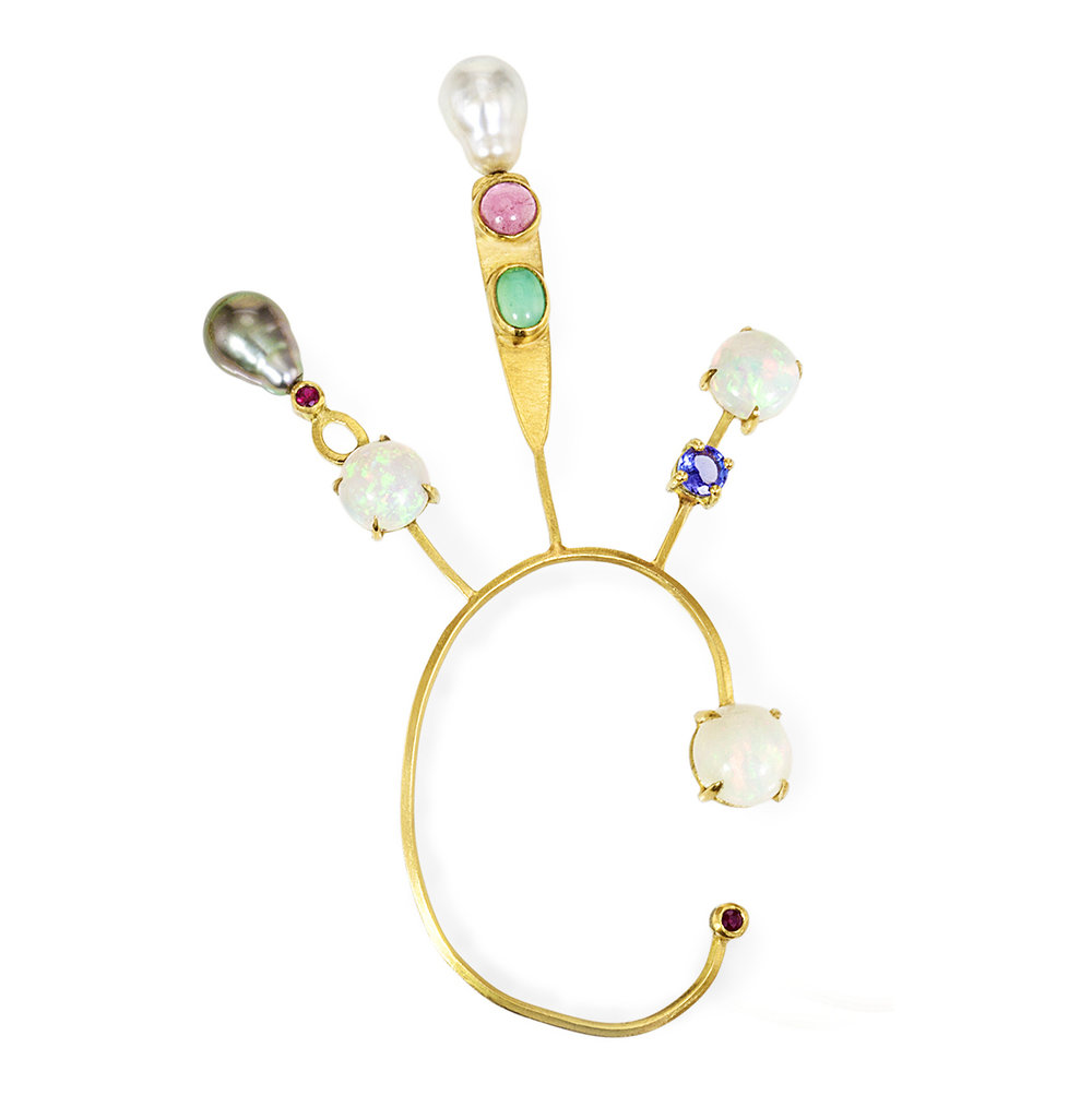 18k yellow gold, opal, and pearl ear spray
