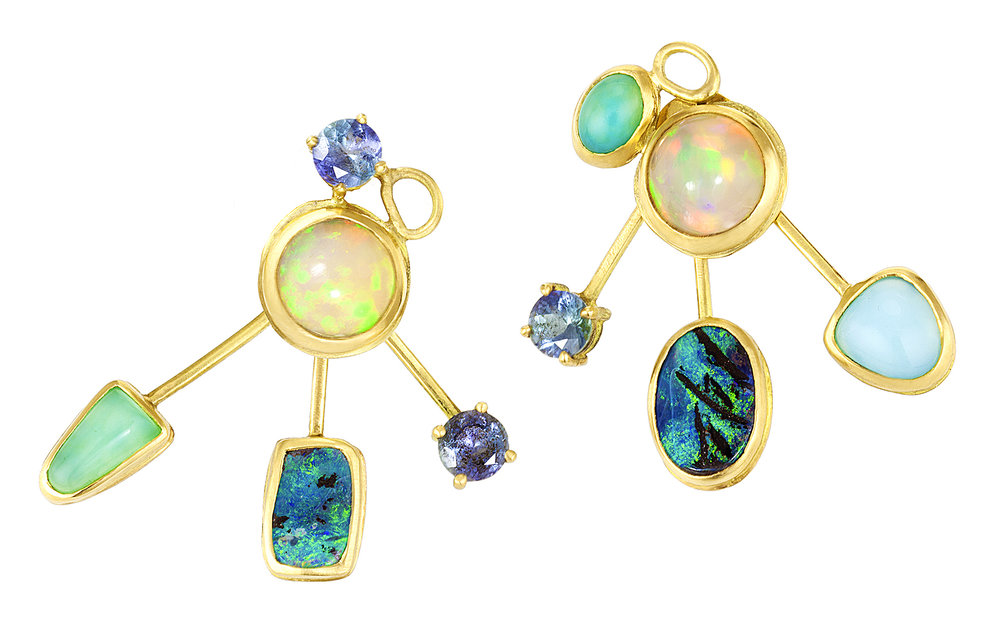 18k yellow gold and opal ear jackets