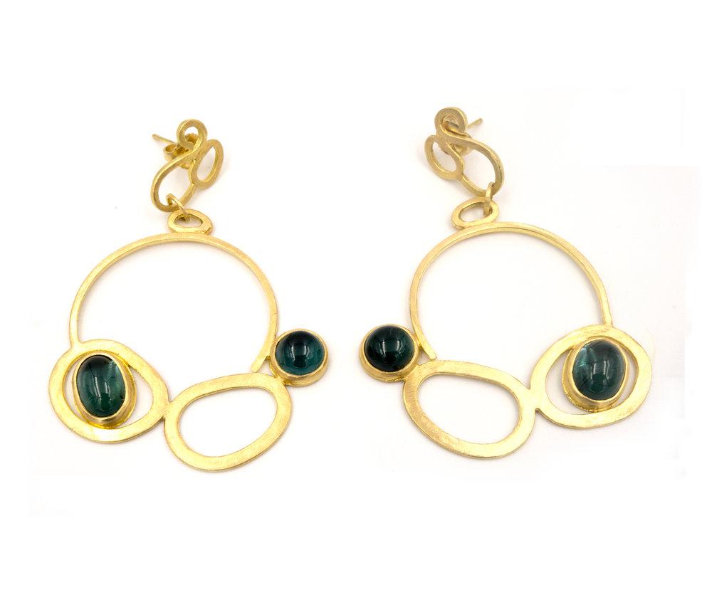 18k yellow gold and tourmaline earrings