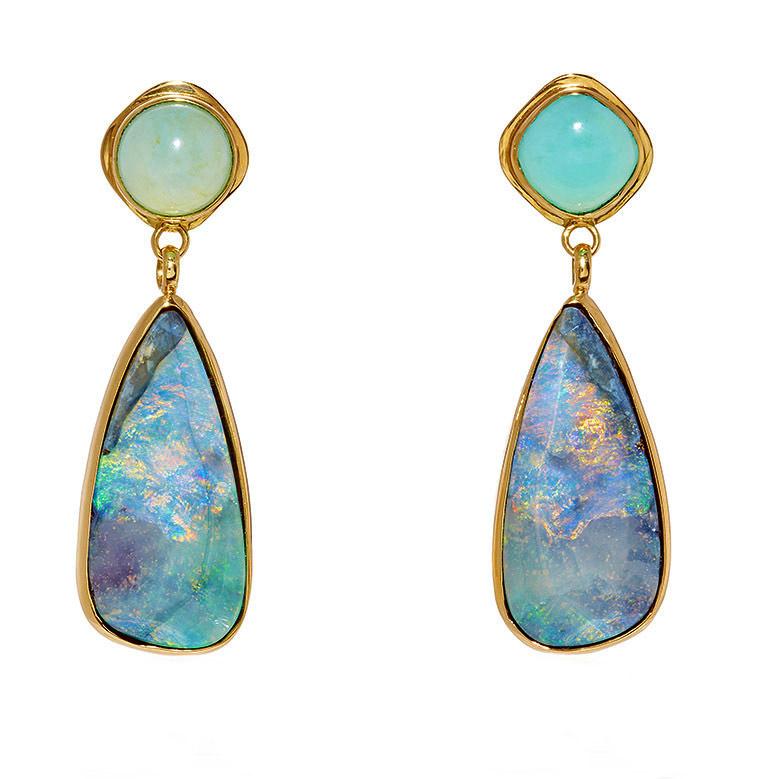 18k yellow gold and opal drop earrings