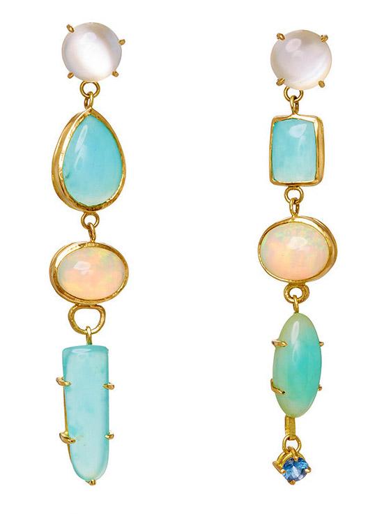 18k yellow gold and opal long earrings