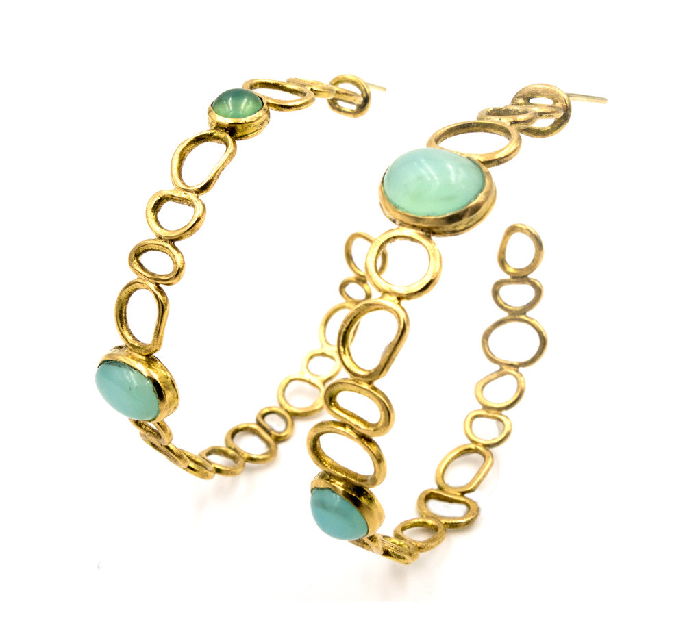 18k yellow gold and blue opal hoops