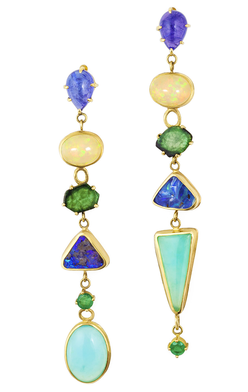 18k yellow gold and opal shoulder duster earrings