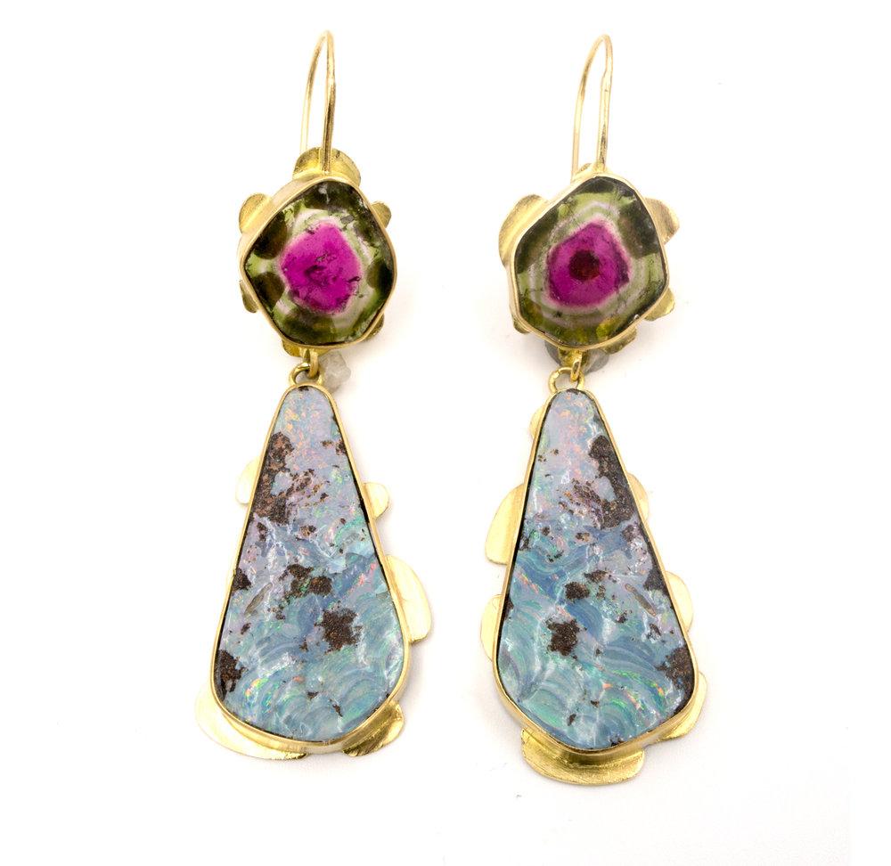 18k yellow gold, opal, and watermelon tourmaline drop earrings
