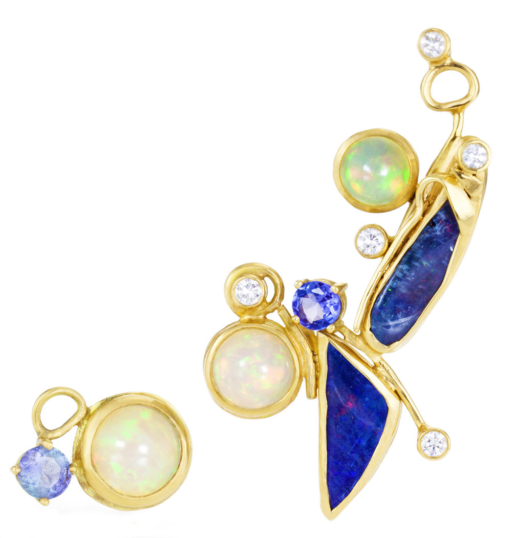 18k yellow gold and opal ear climber