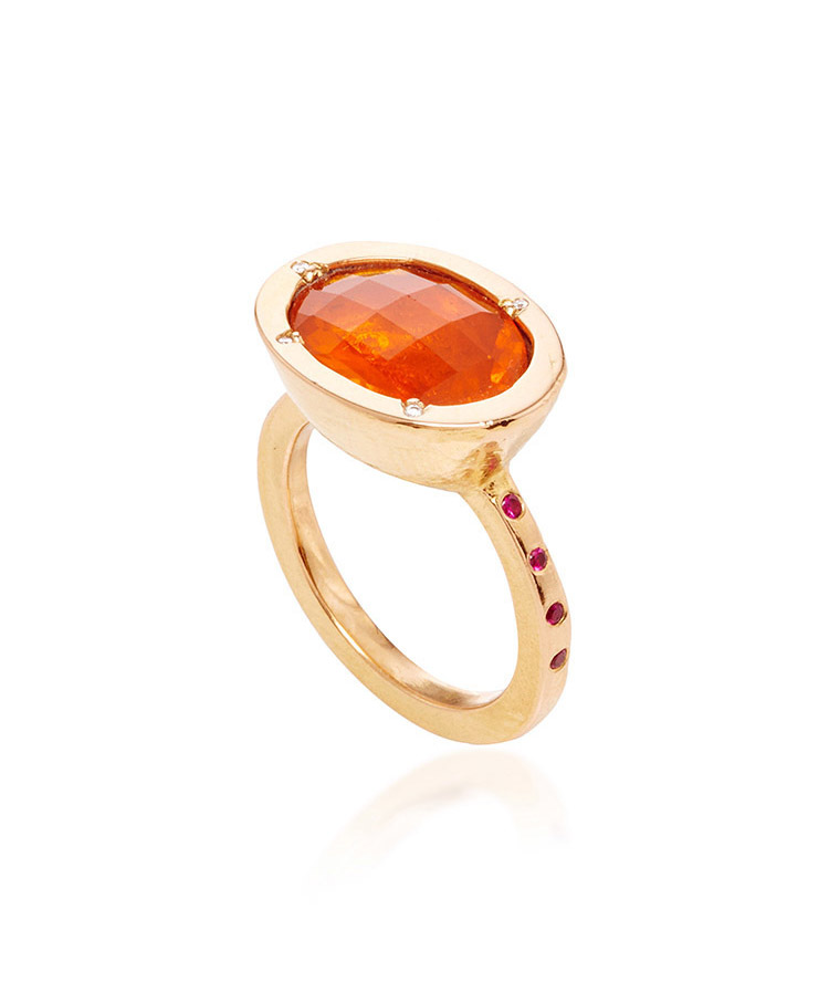 20k rose gold, fire opal, and ruby ring