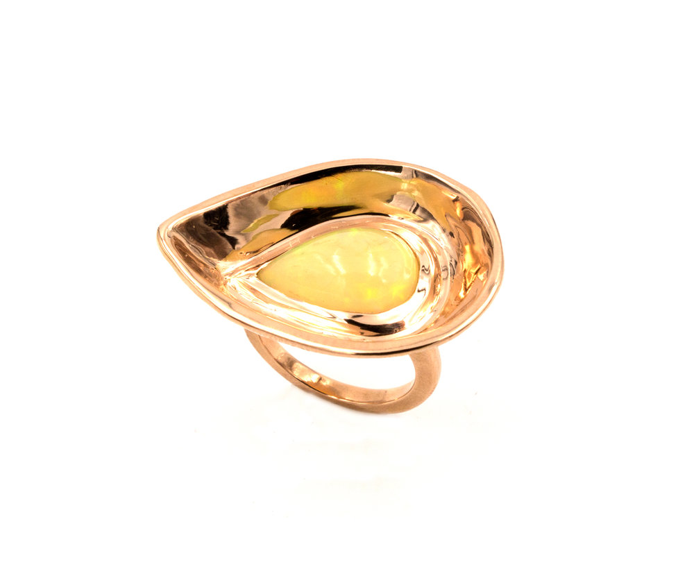 18k rose gold and opal bowl ring