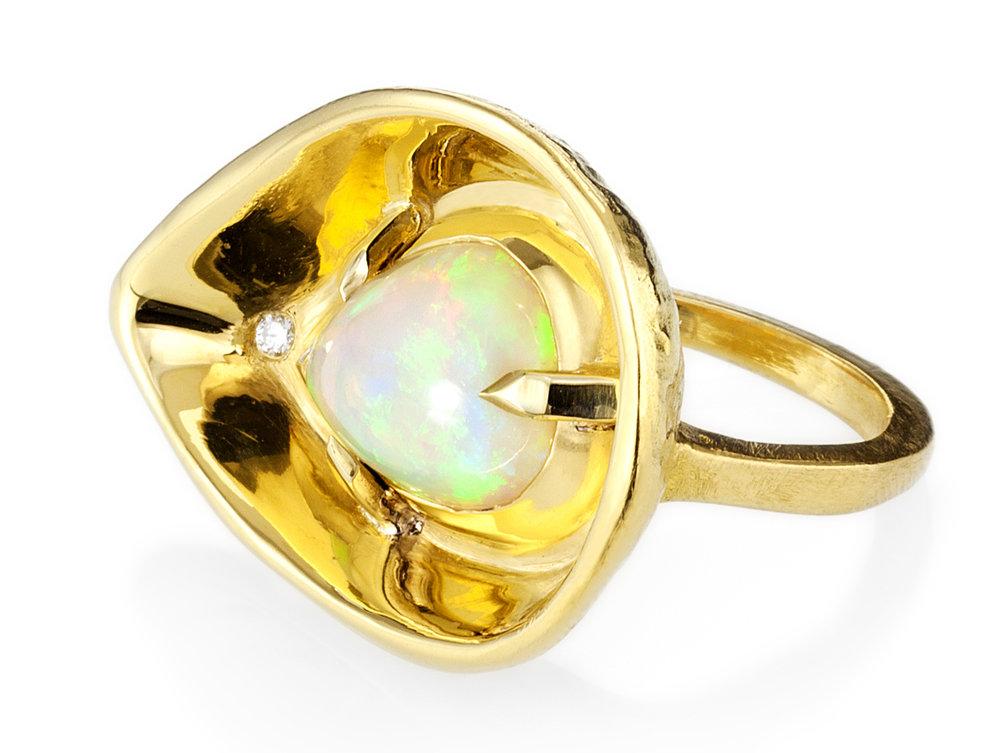 22k yellow gold opal bowl ring