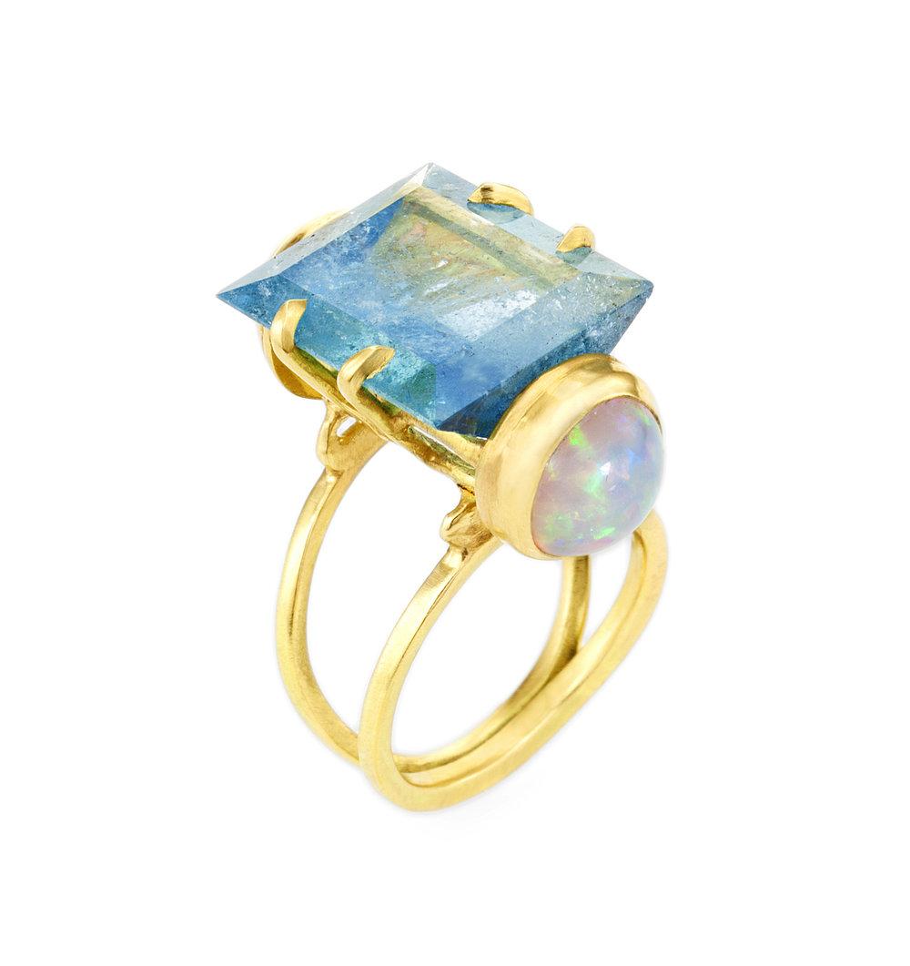 18k yellow gold, aquamarine, and Ethiopian opal ring