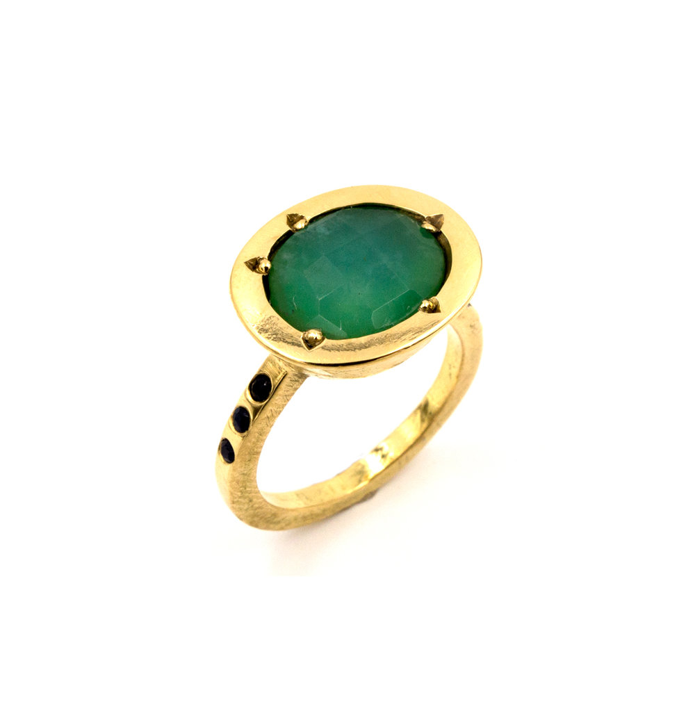 18k yellow gold and Peruvian blue opal ring
