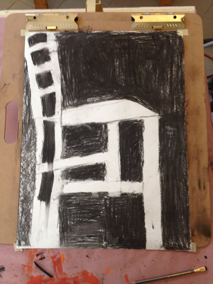 a student's negative space drawing, (there are lessons to be learned from drawing what's not there.)