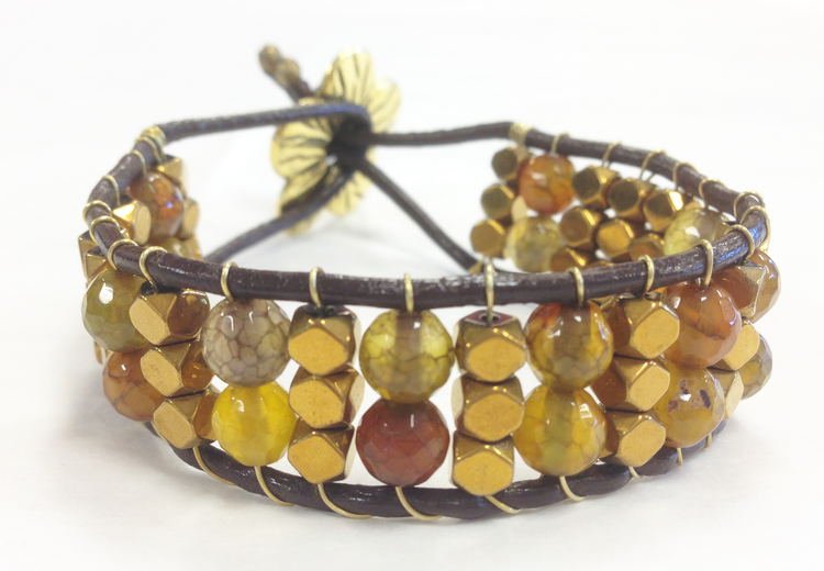 LEATHER BRACELET HANDCRAFTED WITH JASPER AND PYRITE BEADS WITH BRASS FLOWER BUTTON
