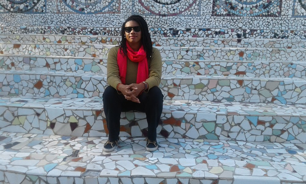 Chelcie at the Rock Garden by Nek Chand in Chandigarh, Punjab India