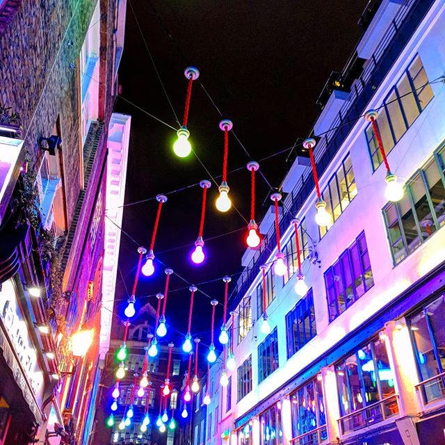 """""""Mere color, unspoiled by meaning, and unallied with definite form, can speak to the soul in a thousand different ways."""" - Oscar Wilde . . . . . #vscocam #vsco #london #carnabystreet #light #night #city #urban"""