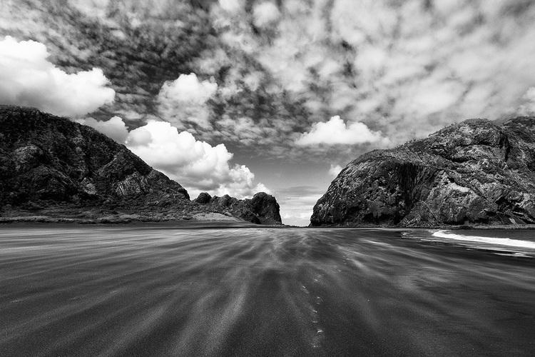 Whatipu beach black and white auckland new zealand