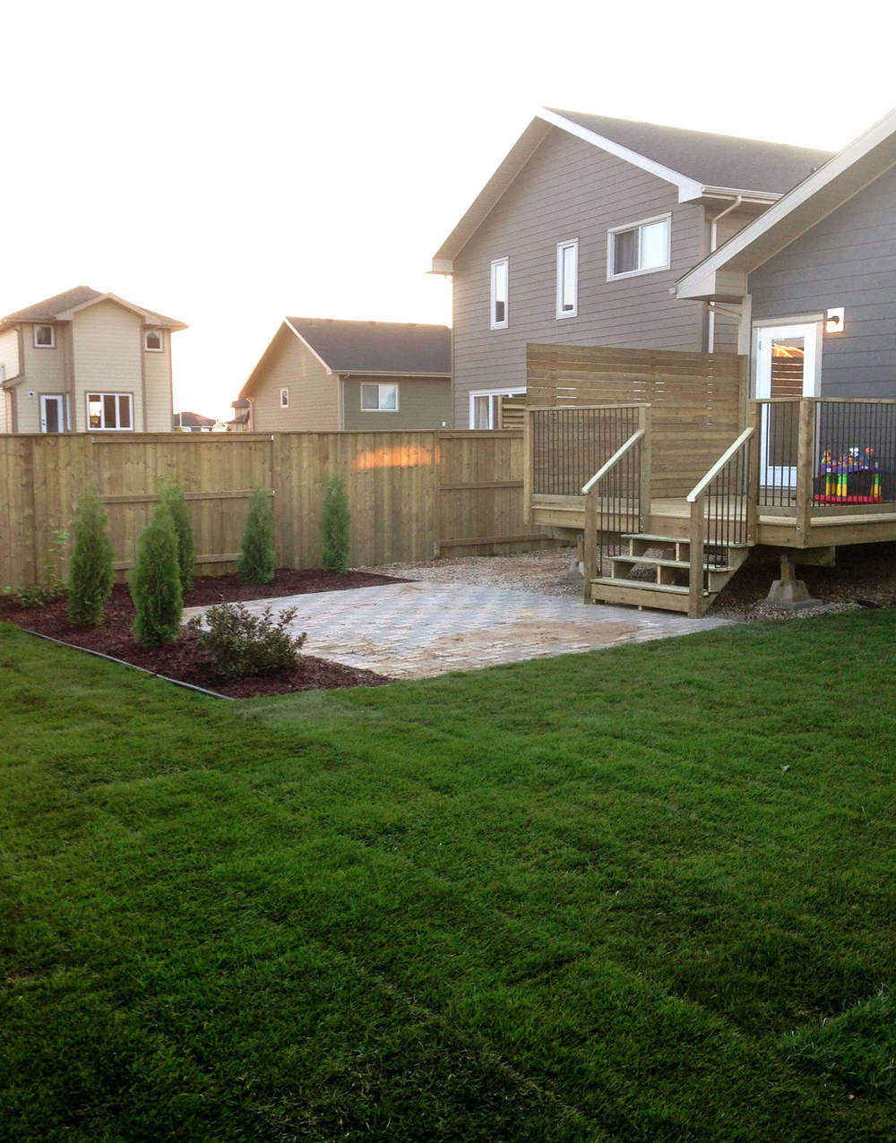 sod laying and patio