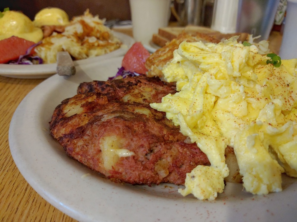 Corned beef hash with eggs. That'll fill you up!