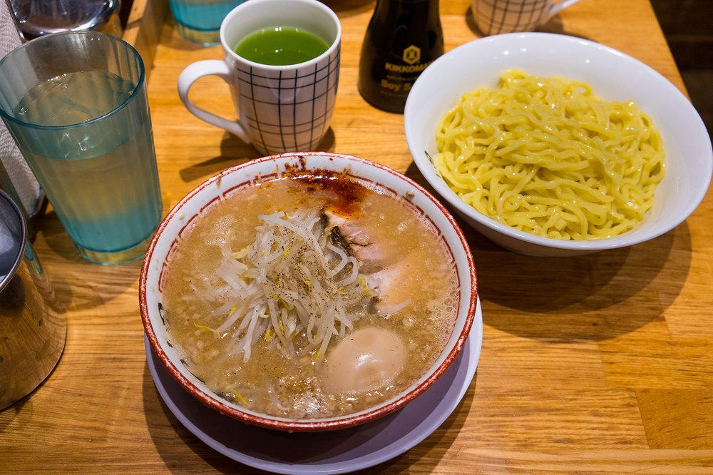Tsukemen with seasoned soft-boiled egg