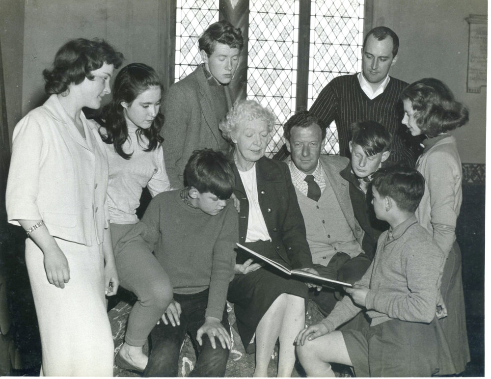 Michael Crawford, Gladys Parr and Benjamin Britten with cast members in Lowestoft