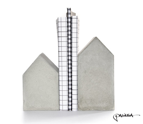 Concrete House Bookend Set by PASiNGA/Etsy - £45