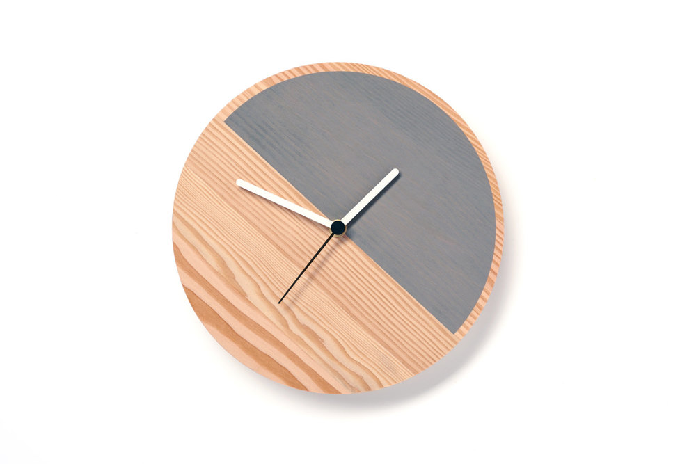 Primary Half Wall Clock in Grey by David Weatherhead/Etsy - £64