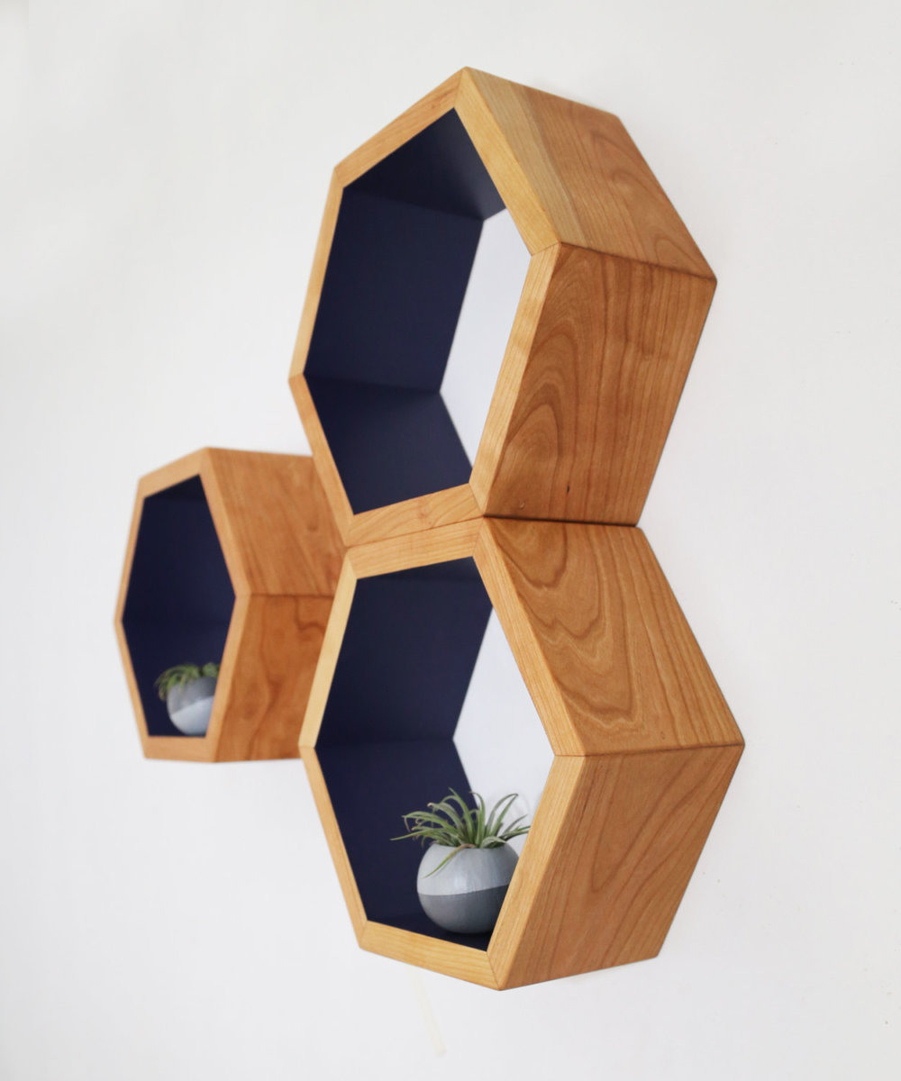 Honeycomb wall shelves by Haase Handcraft