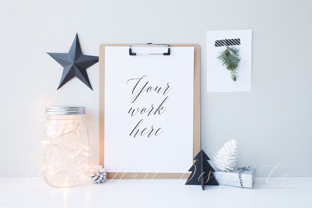 Christmas styled clipboard mock up by  White Hart Design Co