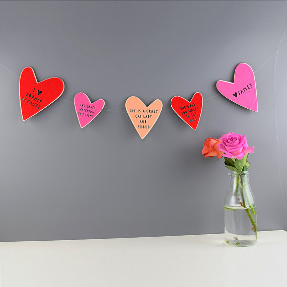 Custom heart garland