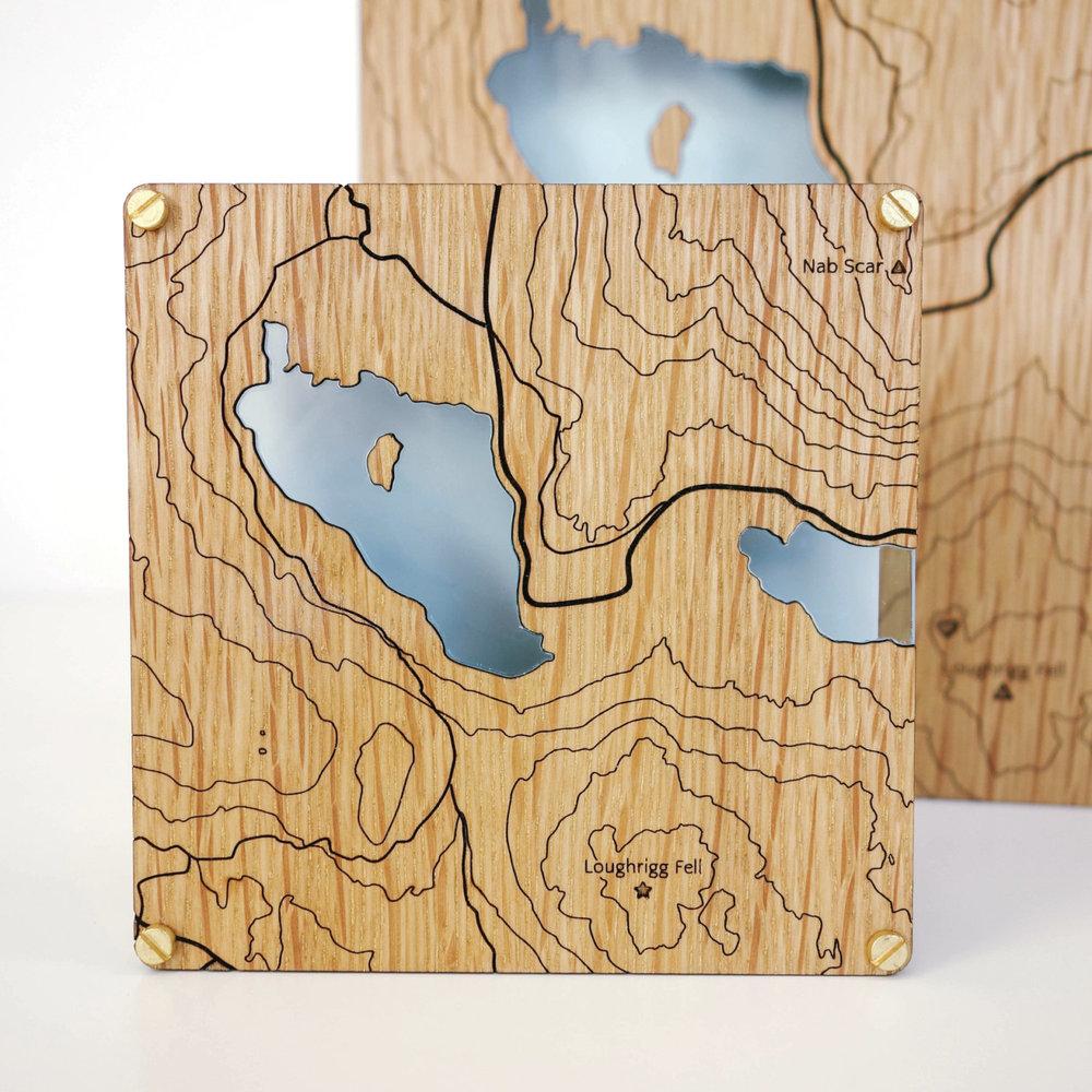 Custom wooden contour map