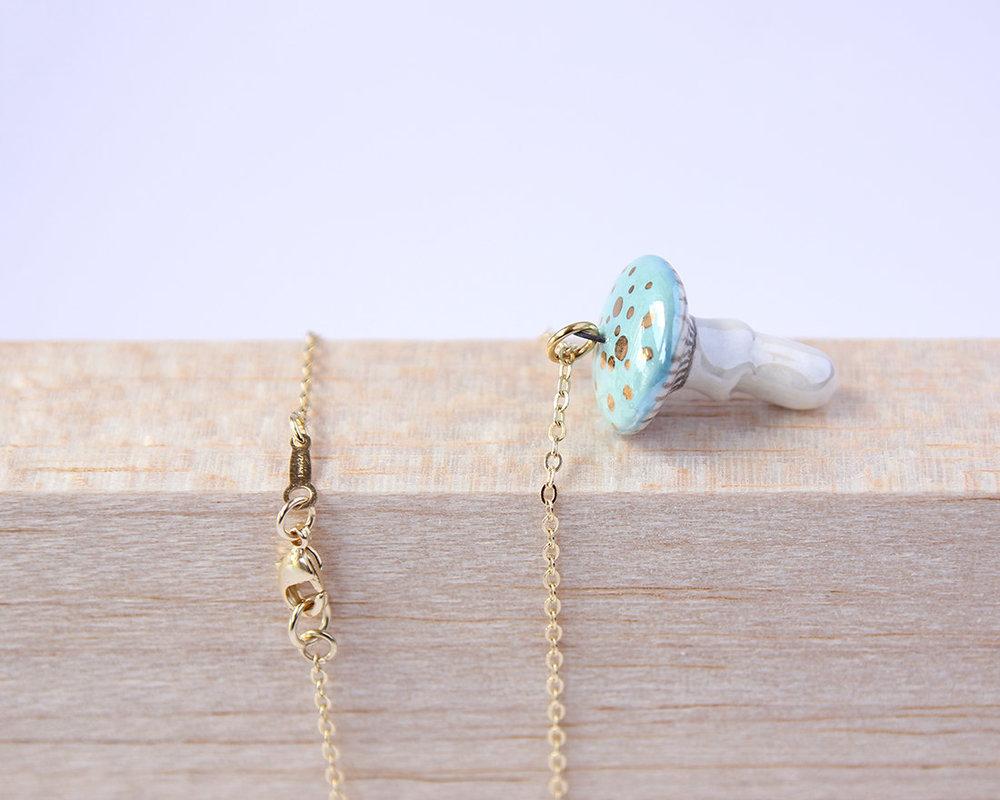 Porcelain mushroom necklace