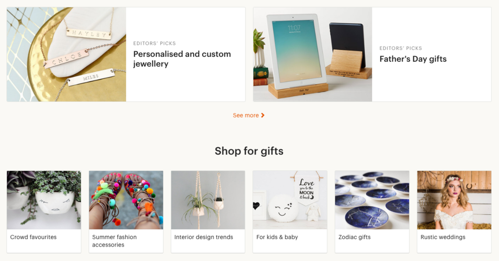 Etsy merchandising themes - Editors' Picks